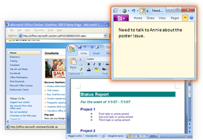 Screenshot: linked note in OneNote 2010