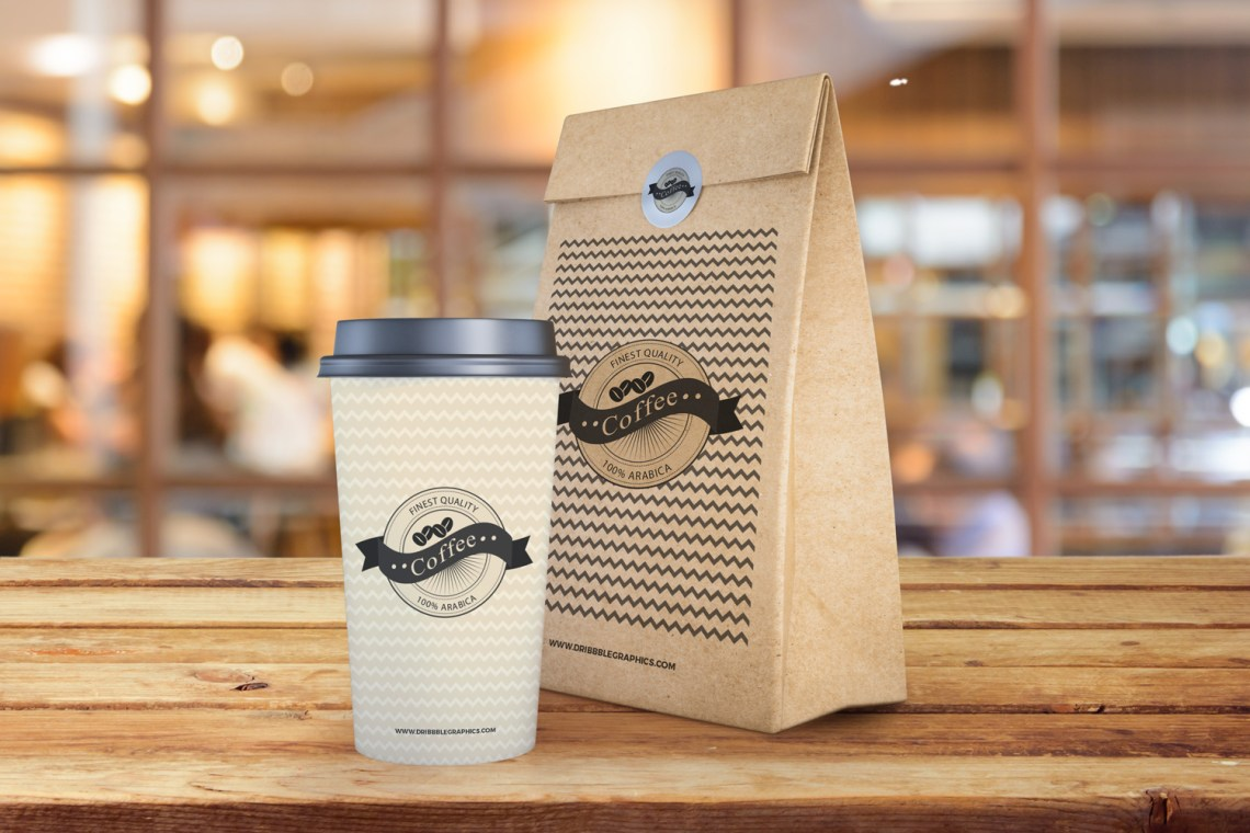 Download Free Coffee Cup and Paper Bag Mockup PSD | Dribbble Graphics