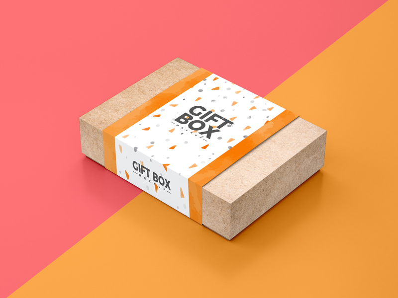 Download Free Craft Paper Gift Box Packaging Mockup PSD | Dribbble ...
