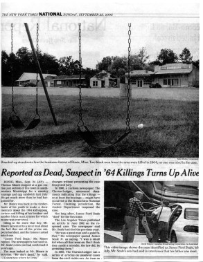 2005-9-25 NY Times Article 'Reported as Dead, Suspect in '64 Killings Turns up Alive' Sept 25 2005 #1 copy