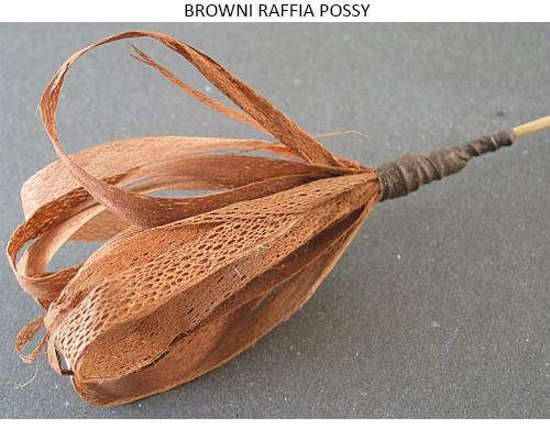 Browni Raffia Possy on Stick