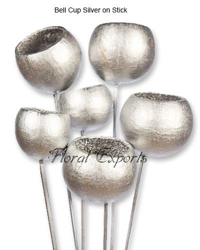 Bell Cup Pods Silver on Stick - Christmas Decorations Wholesale