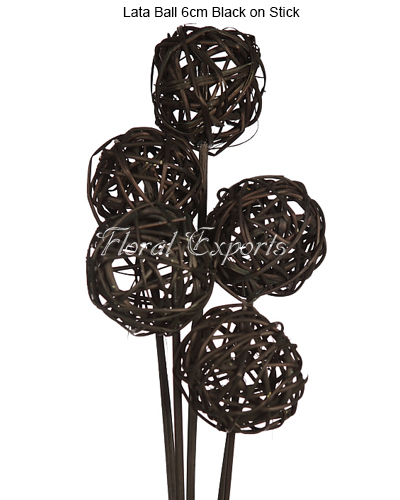 Lata Ball 6cm Black on Stick 5PCS Bunch