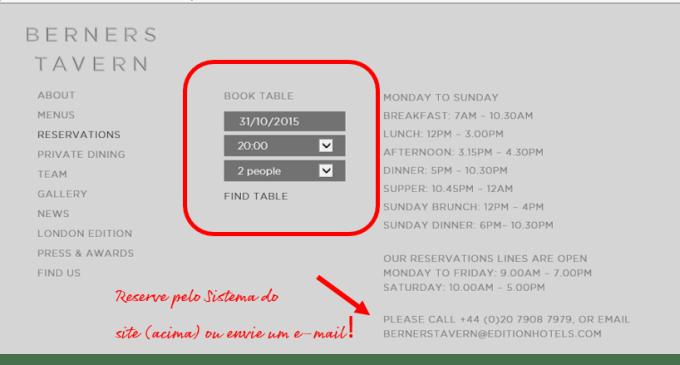 Como reservar restaurantes em Londres