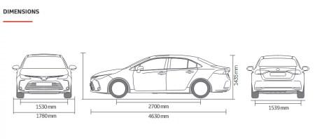 صورة توضيجية لأبعاد تويوتا كورولا 2021