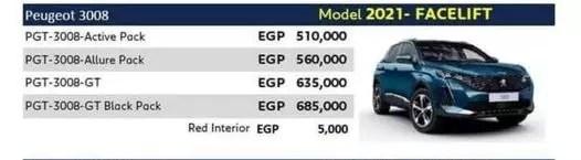 سعر بيجو 3008 موديل 2021 في مصر