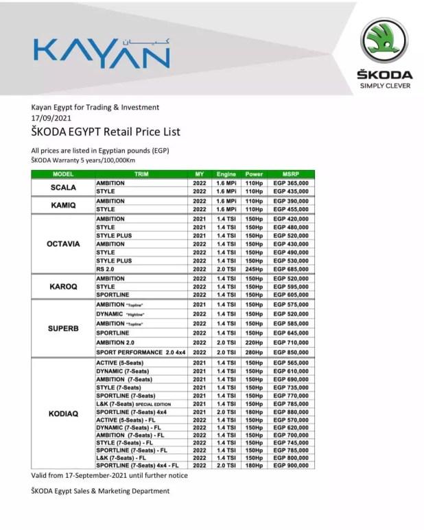 سعر سكودا اوكتافيا 2022 في مصر