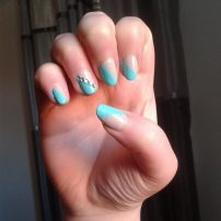 Blue and nude and rhinestones