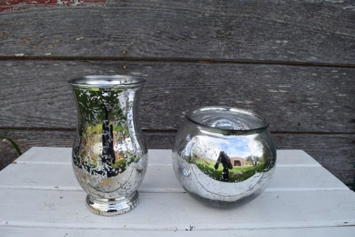 Silver mercury glass vases-small