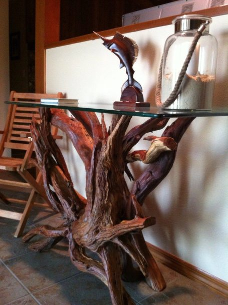 Lacquered driftwood sofa/foyer table