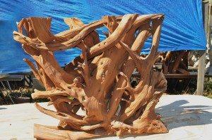 Sandblasted root side of table