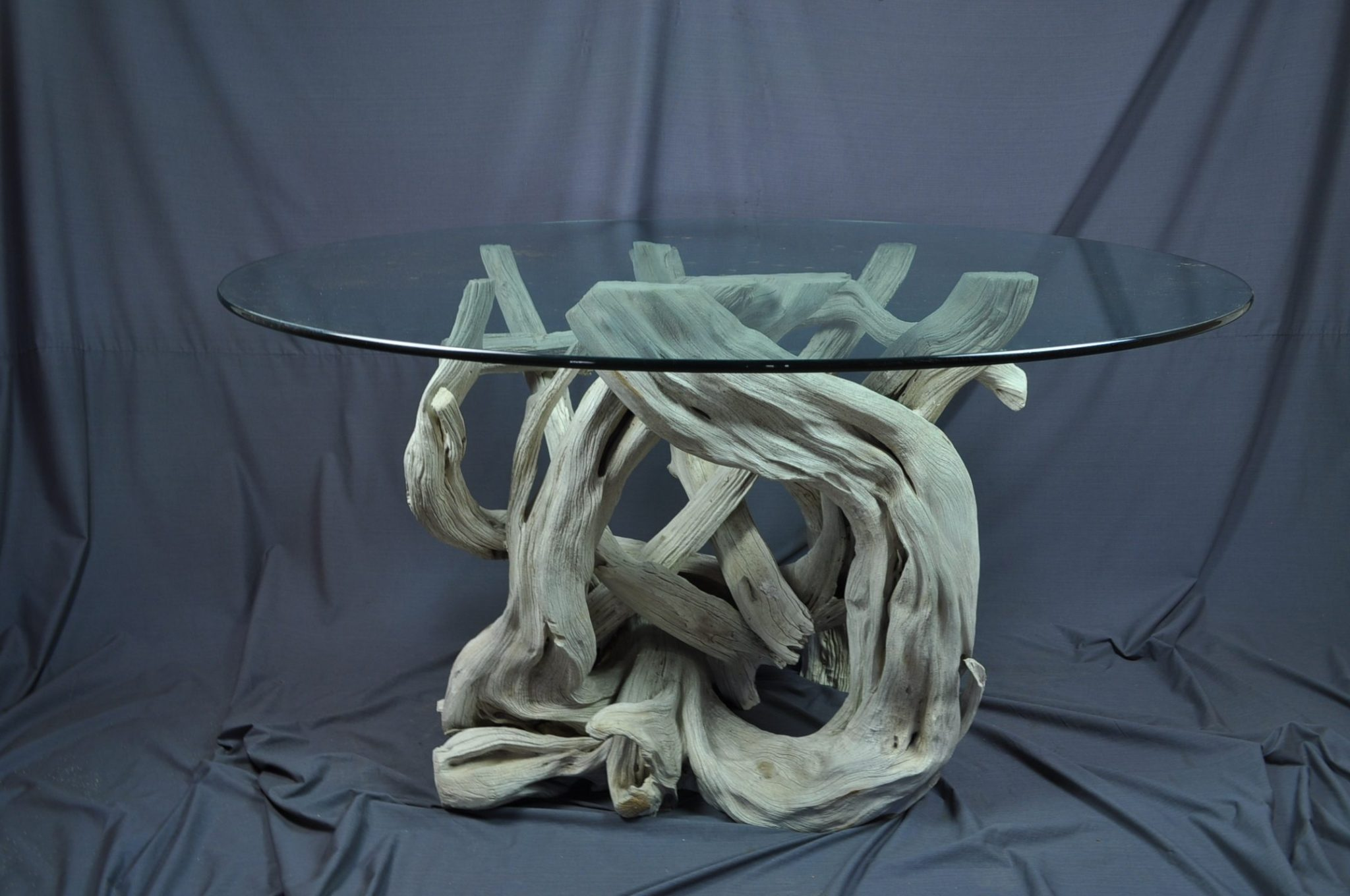 Octagonal driftwood dining table