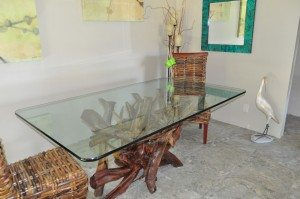 Lacquered driftwood dining table
