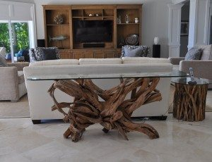 driftwood & glass foyer table