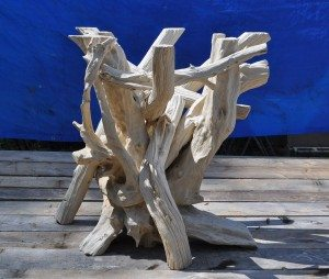 Round driftwood dining table