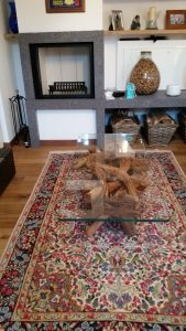 sandblasted _driftwood _ glass coffee table