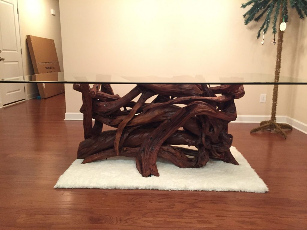A driftwood lacquered dining table