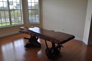 Redwood burl dining table