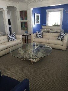 large driftwood & glass coffee table