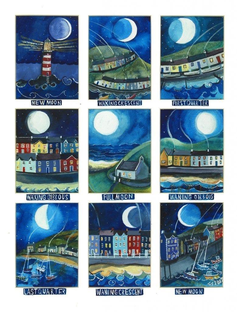 moon cycle poster print