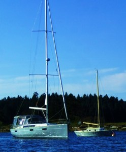 The sloop 'Fart P' on the hook. Neo-decadence beside classic an ultimate boat.practicality and what was once