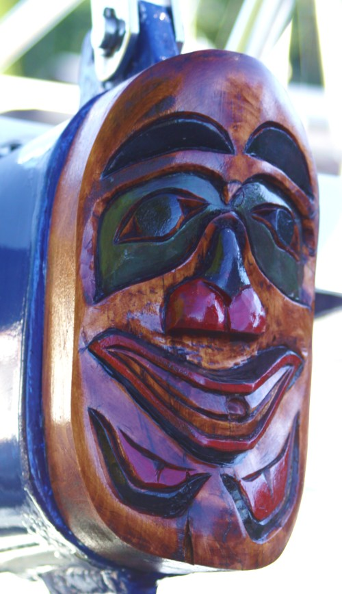 "The Heiltsuk Harrier. 'Seafire's"" new bowsprit cap."