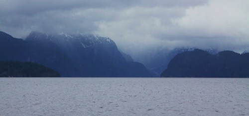 The Dark Fjord. Tolkein would have loved it. I could her some Sibelius playing. Looking north from the top of Nelson Island.