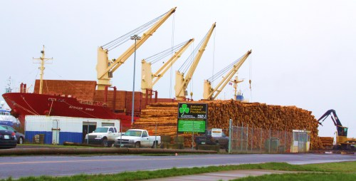 A load of beautiful second-growth fir at the new timber export facility in Astoria Oregon