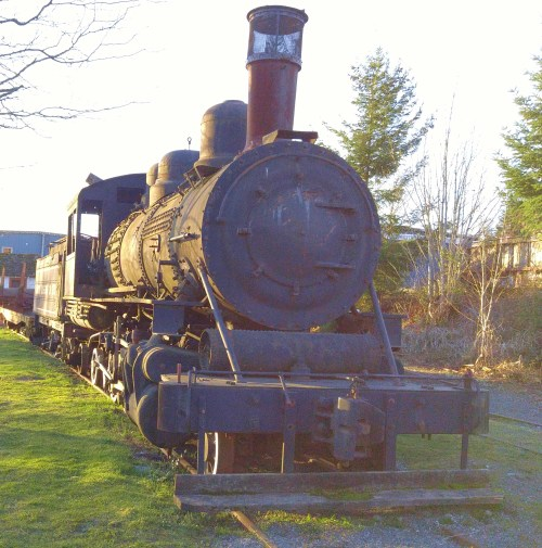 Abandoned locomotive in Ladysmith. The promise of a working steam museum and a tall ships yard drew me to Vancouver Island in the mid-80s. It never happened.