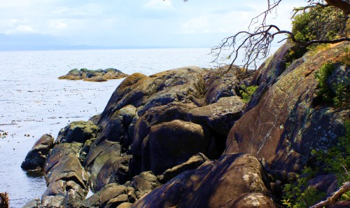 Becher Point Petroglyph Looking out on Juan De Fuca Strait and the shores of the Olympic Peninsula WA