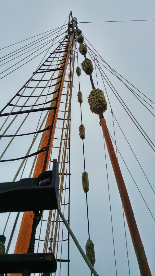 Aloft Baggywrinkle, ratlines, parceling and serving, trailboards. Rigging components from traditional methods.