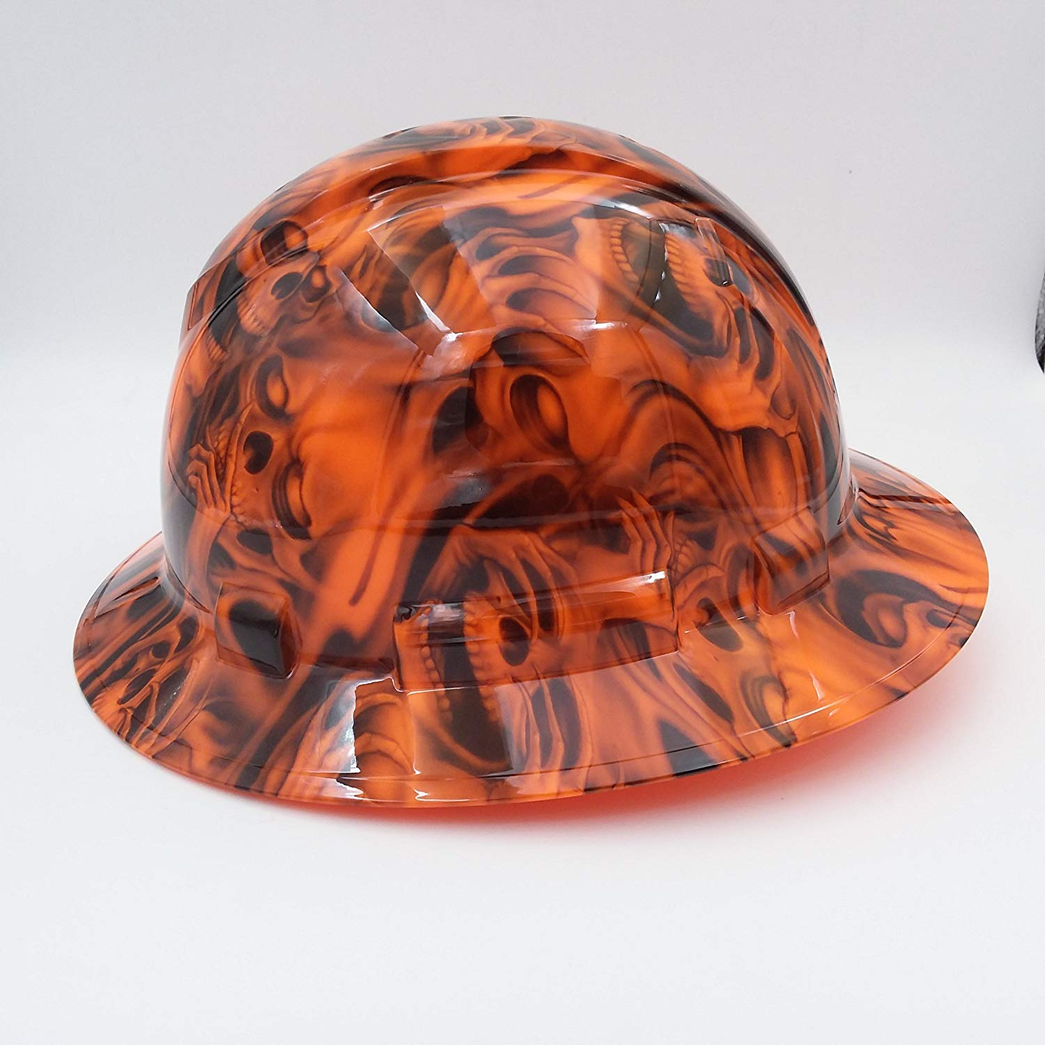 Orange See No Evil Skulls Hard Hat