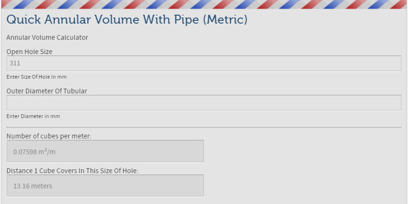 Annular Volume With Pipe Calculator Metric