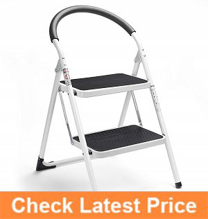 Delxo-2-Step-Stool-Folding-Step-Stool-Steel-Stepladders-with-Handgrip-Anti-slip-Sturdy-and-Wide-Pedal-Steel-Ladder-330lbs-White-and-Black-Combo-2-Feet-(WK2061A-2),