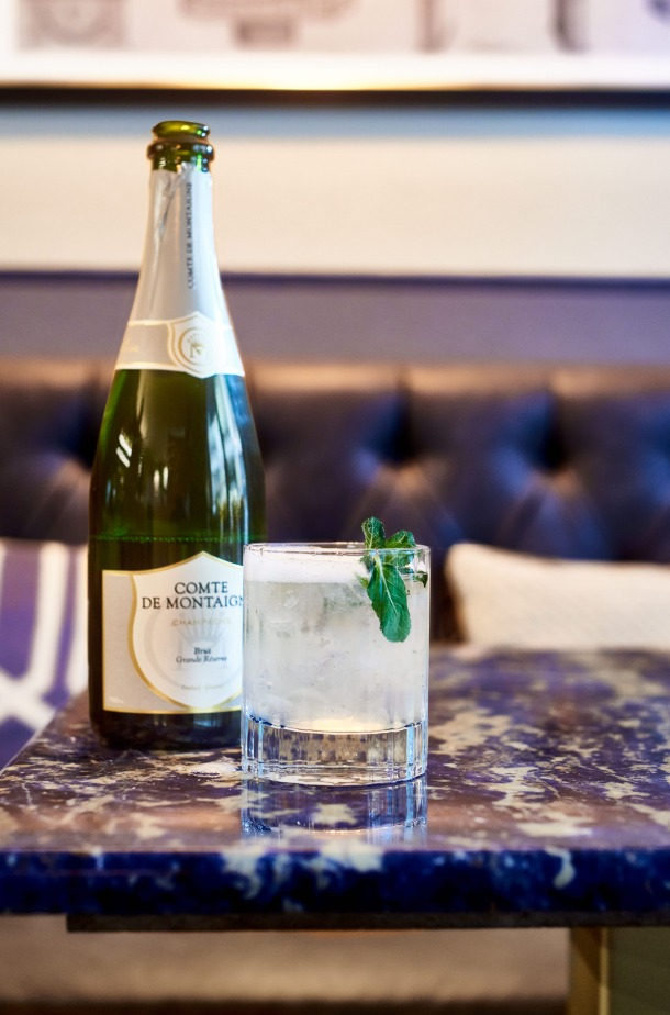 Southside Royale cocktail champagne
