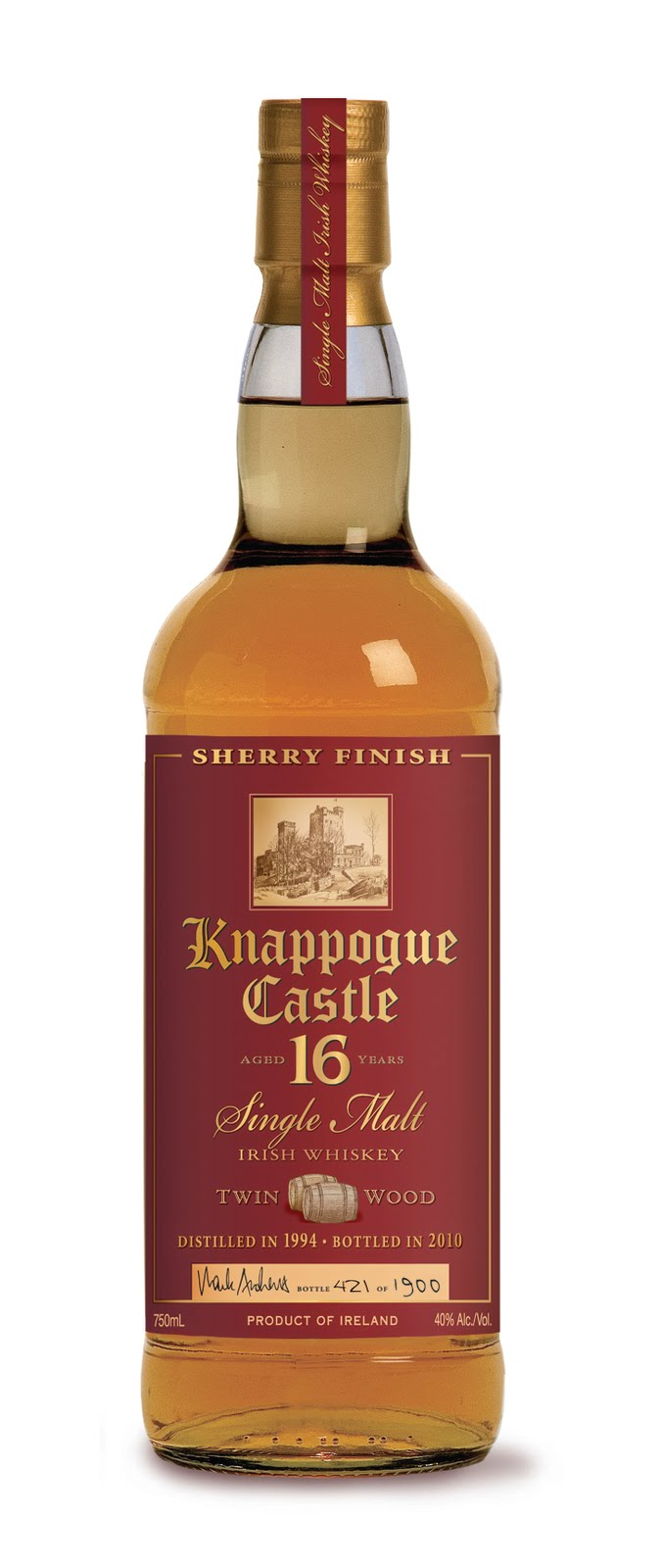 Knappogue Castle Twin Wood Single Malt Irish Whiskey 16 Years Old (2014)