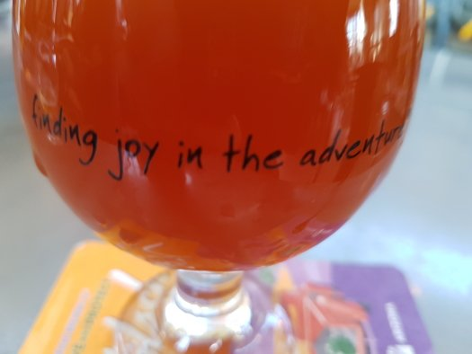 Mother Road Brewing's Motto on a beer glass at their downtown brewery in Flagstaff, Arizona