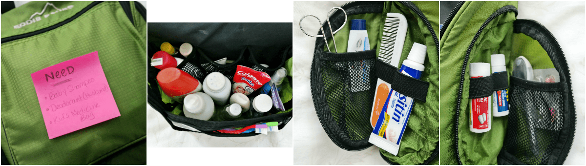 inside a toiletry bag