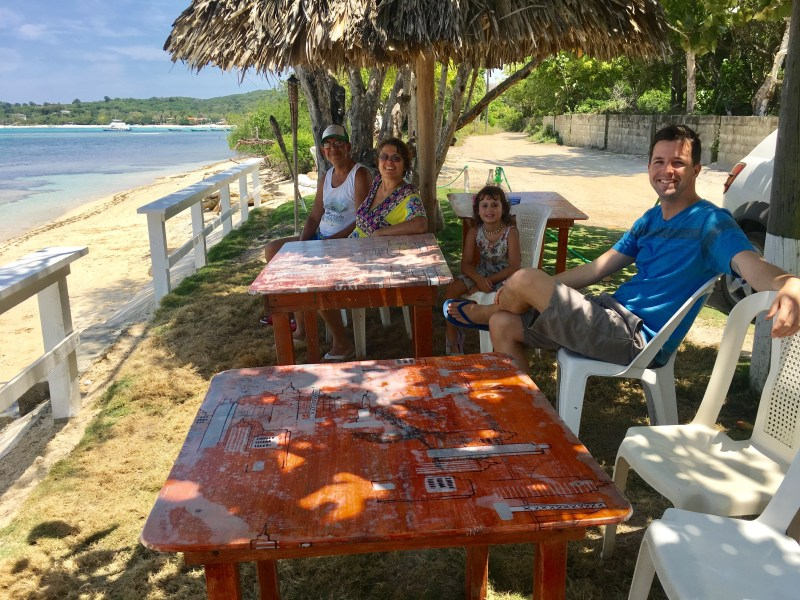 Eating at Lino's in Punta Rucia