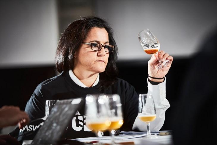 Tina Panoutsos judging beer at the Australian International Beer Awards 2019