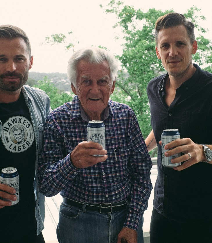 Hawke's Brewing founders Nathan Lennon (L) and David Gibson (R) with the late Bob Hawke