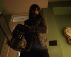 Kenzi with chainsaw in Into the Dark