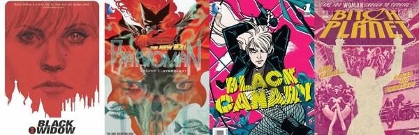 Black Widow Batwoman Black Canary Bitch Planet covers