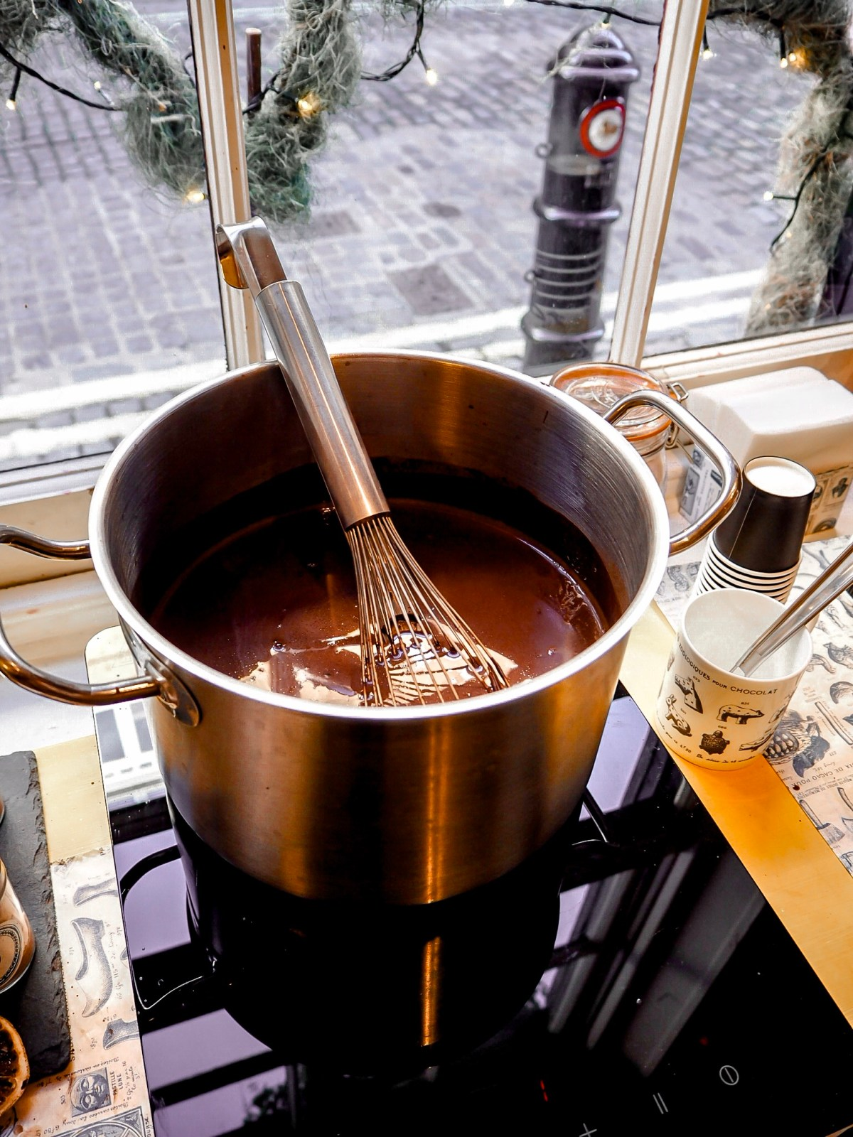 hot pot of hot chocolate