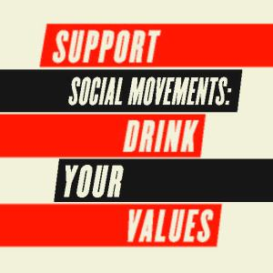 retro red, black, and off white block design state support social movements drink your values for social justice beer project DYV
