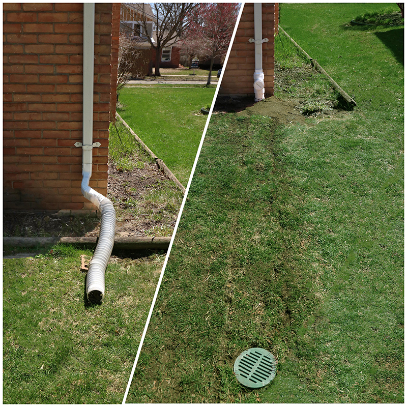 before and after downspout systems