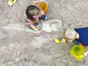 Dig for fossils in the Dino Pit at Austin Nature and Science Center