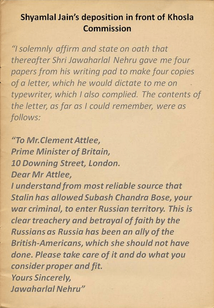 Contents of Nehru's letter to Clement Atlee
