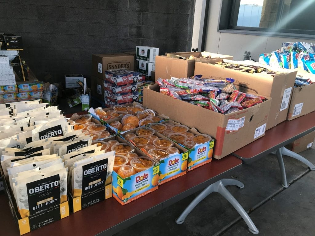 Table at Buckeye, AZ terminal showing food items for Knight Transportation drivers