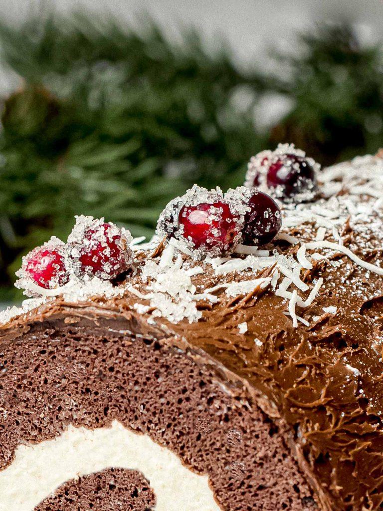 christmas yule log cake buche de noel